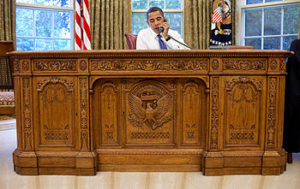 The Resolute partners desk in use by Barack Obama