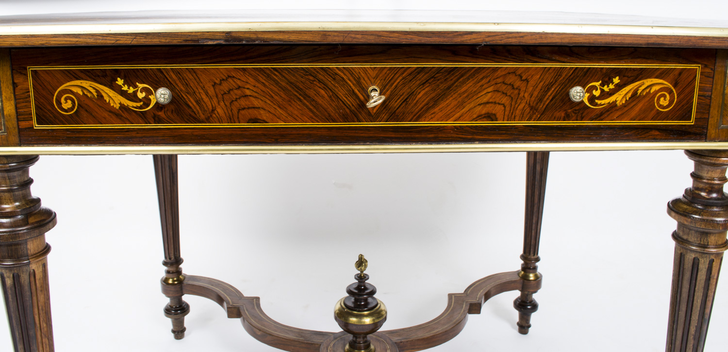antique french marquetry bureau plat writing table. Black Bedroom Furniture Sets. Home Design Ideas