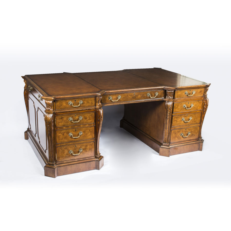 Large Burr Walnut Partners Pedestal Desk