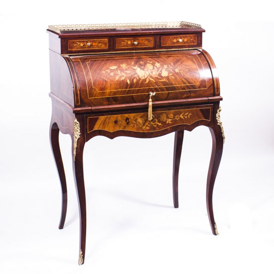 SOLD – Antique French Louis XV Revival Rosewood Cylinder Bureau c.1870