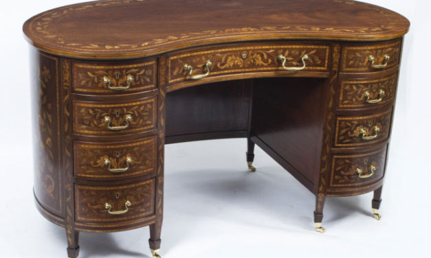 SOLD Antique Inlaid Marquetry Mahogany Kidney Desk c.1900