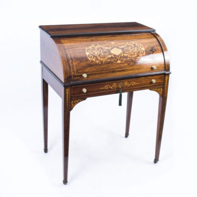 SOLD – Antique Lady's Rosewood & Marquetry Cylinder Bureau c. 1880
