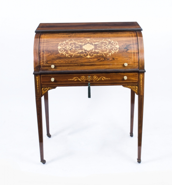 07564-antique-lady-s-rosewood-marquetry-cylinder-bureau- - SOLD - Antique Lady's Rosewood & Marquetry Cylinder Bureau C. 1880