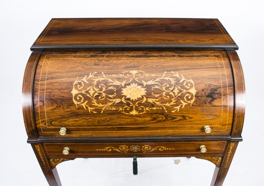 Sold antique ladys rosewood & marquetry cylinder bureau c. 1880