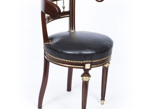 Antique French Empire Brass Inlaid Desk Music Chair c.1880