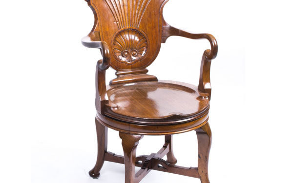 Antique Edwardian Mahogany Revolving Desk Chair Dating From Around 1880