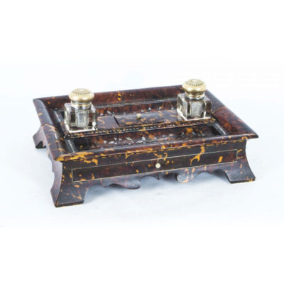 Antique Willliam IV Inlaid Mother of Pearl Boulle Inkstand c.1830