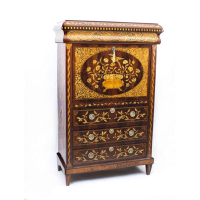 Antique Dutch Marquetry Secretaire Cabinet in Mahogany c.1800