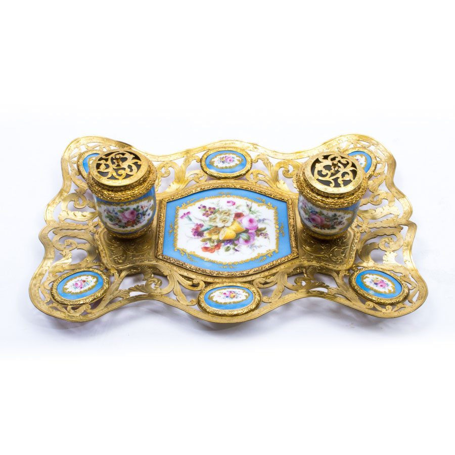 Antique French Ormolu & Sevres Porcelain Inkstand