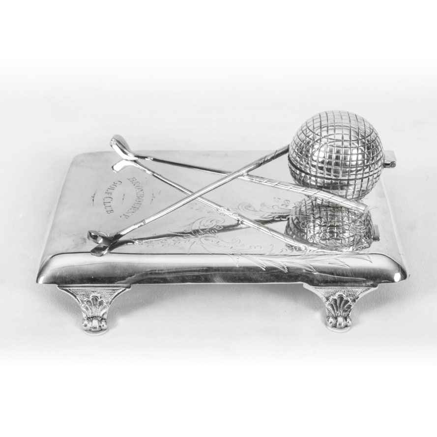 Antique Edwardian Silver Plated Inkwell – Broxbourne Golf Club