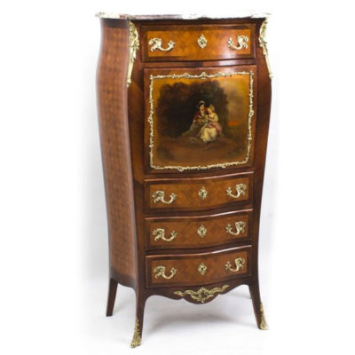 A lovely French Vernis Martin & Parquetry Secretaire Chest