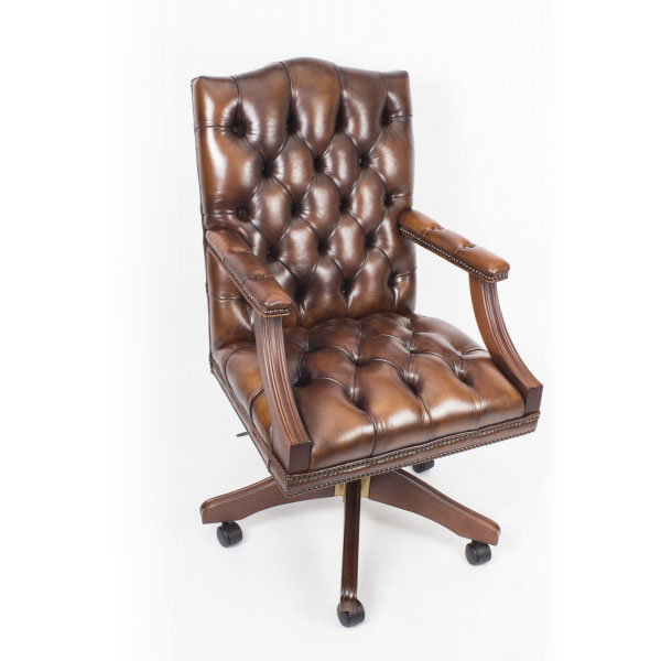 English Handmade Gainsborough Leather Desk Chair Tan Brown