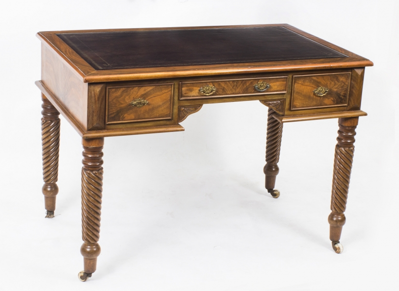 Figured Walnut Antique Writing Table Desk c.1900