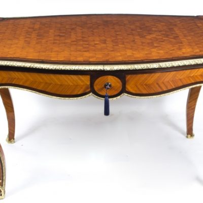Antique Bureau Plat Parquetry Writing Table, French Dating From Around 1860