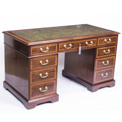 SOLD – Antique Victorian Inlaid Mahogany Pedestal Desk c.1880