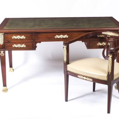 French Empire Antique Ormolu Mounted Desk and Chair Dating From Around 1880