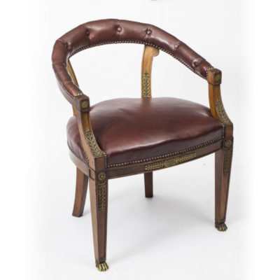 Antique Second Empire Mahogany Tub Arm Desk Chair c.1850