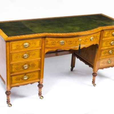 Antique Edwardian Sheraton Desk in Satinwood c.1890