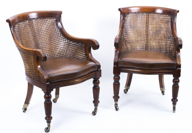 Pair Caned Mahogany Bergere Library Chairs Style of Gillows