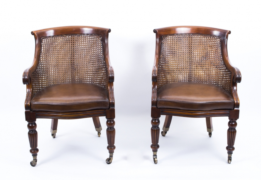 Regency Caned Library Chairs