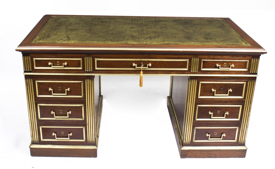 Mahogany & Brass Empire Revival Antique Pedestal Desk c.1880