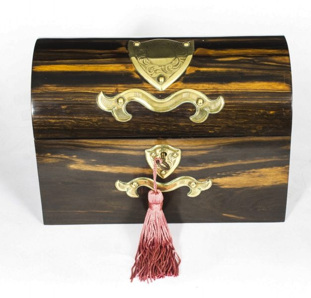 Antique Stationery Box Coromandel & Brass Mounted c.1860