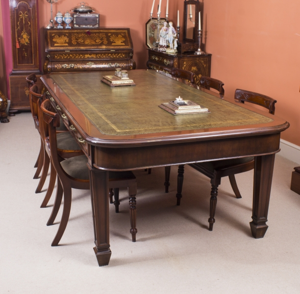 Antique Victorian Library Table 8ft Long