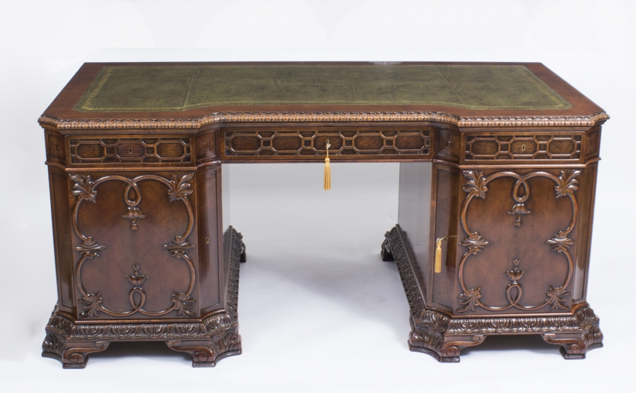 Chippendale Style Antique Pedestal Desk 1880