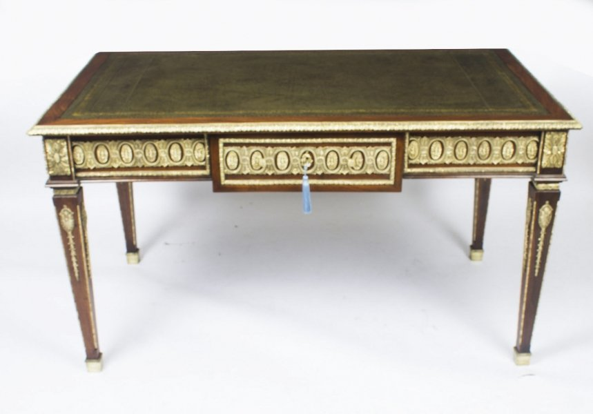 Antique French Empire Revival Bureau Plat Desk Writing Table C 1900