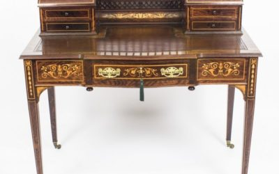 Rosewood and Marquetry Antique Edwardian Carlton House Desk c.1900